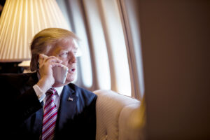 Donald Trump Using Cell Phone on Air Force One