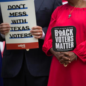 Democratic caucus members of the Texas House join a rally on the steps of the Texas Capitol to support voting rights, Thursday, July 8, 2021, in Austin, Texas. (Credit: Eric Gay)